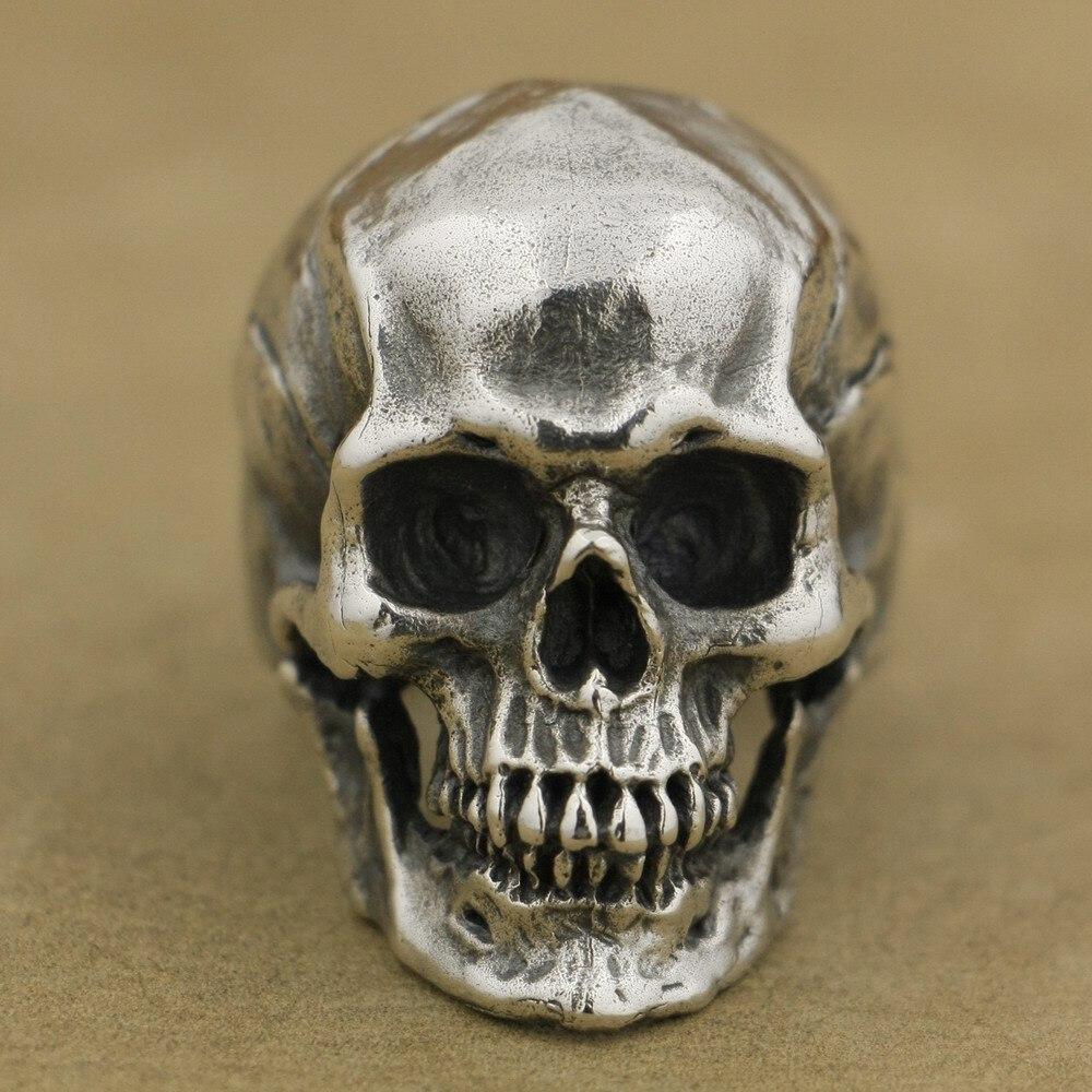 LINSION 925 en argent Sterling haut détail anneau de crâne hommes Biker Punk anneau TA50 taille américaine 7 ~ 15