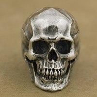 LINSION 925 Ayar Gümüş Yüksek Detay Kafatası Yüzük Erkek Biker Punk Yüzük TA50 ABD Boyutu 7 ~ 15
