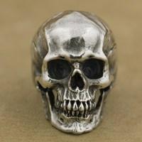 LINSION 925 Sterling Silver High Detail Skull Ring Mens Biker Punk Ring TA50 US Size 7