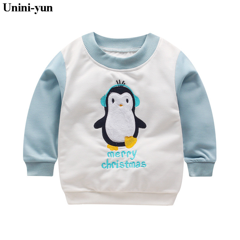 Baby Boys Sweatshirts Long Sleeve penguins Children T shirts Cotton Girls Pullover Hoodies Tops 2017 Kids Infant Tees Clothes 6t