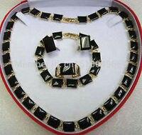fine Lovely Wonderful GP Faddish Black gem Necklace Earring Ring Bracelet gem women's jewelry