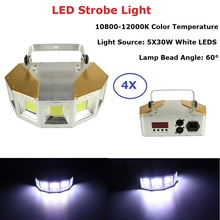 5X30W White Color LED Strobe Lights Disco DJ Party Holiday Christmas Music Club Sound Activated Flashlight Stage Lighting Effect
