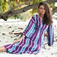 RQOKIA women dress for beach V neck long sleeve dresses women purple striped patchwork dress plus size