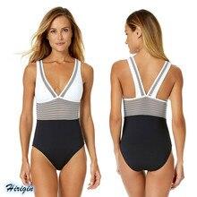 Women Striped Patchwork Swimsuits 2019 New Summer Sleeveless V-Neck Skinny Swimsuit
