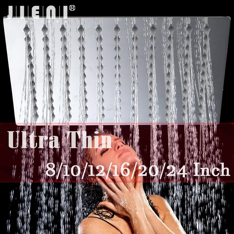 LED 8/10/12/16/20/24 Inch Rain Shower banho de chuva Head Stainless Steel Shower Head Bathroom Ultra-thin Shower Head