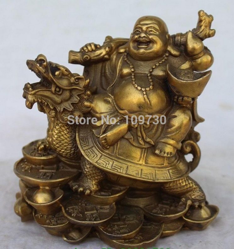 002180 Chinese Copper Wealth Money Happy Laugh Maitreya Buddha On Dragon Turtle Statue002180 Chinese Copper Wealth Money Happy Laugh Maitreya Buddha On Dragon Turtle Statue