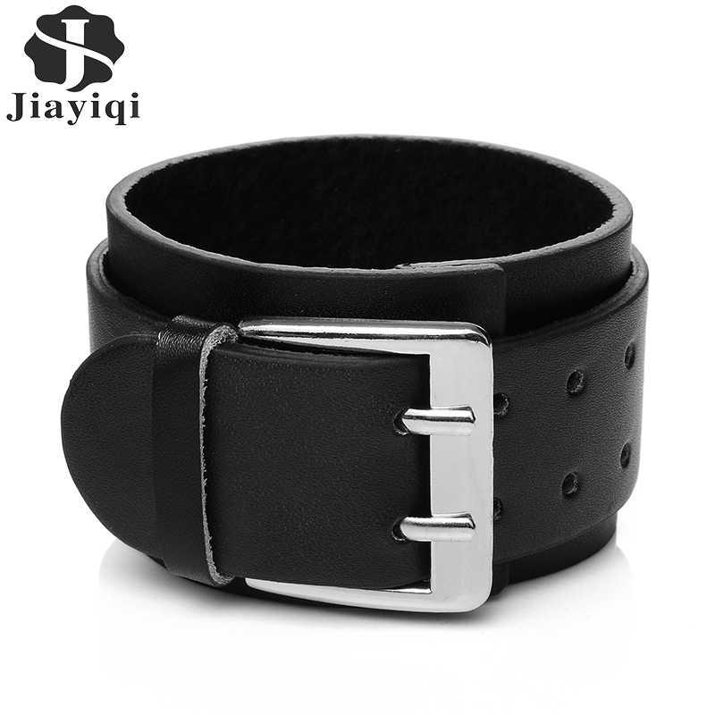 Black Wide Genuine Leather Mens Bangle Cuff Wristband Bracelet Unisex Punk Rock