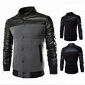 Leather Stitching Design Men'S Sweater Jacket Reflective Black Men'S Jacket Hooded Slim Summer Jacket Parkas Hombre A2017