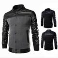 Leather Stitching Design Men'S Sweater Jacket Reflective Black Men'S Jacket Hooded Slim Summer Jacket Parkas Hombre A2017