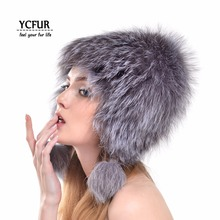 YCFUR New Arrival Winter Bomber Hats Women Strips Natural Silver Fox Fur Caps With Ears Trims Warm Winter Fur Beanies Hats