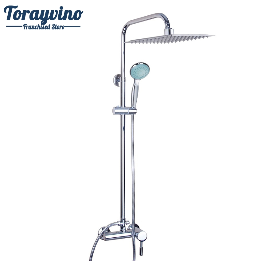 Torayvino Bathroom LED Polished Chrome Waterfall Rain Shower Faucet & Hand Shower Wall Mounted Bathroom Faucet And Shower Set sognare new wall mounted bathroom bath shower faucet with handheld shower head chrome finish shower faucet set mixer tap d5205