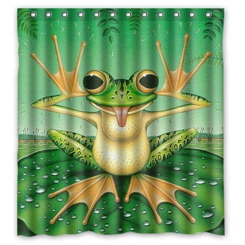 Personalized Funny Frog Makes Face On The Green Lotus Leaf Cute Style Shower Curtain Bath Decor Curtain Polyester Fabric