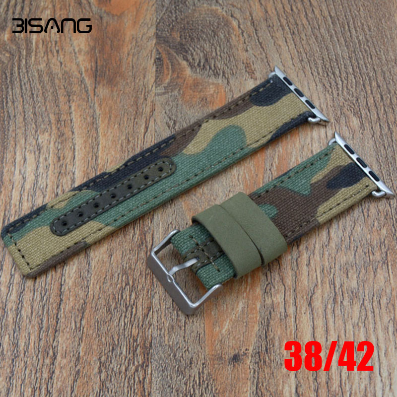 Prix pour Nouveau Style Camouflage Toile Nylon En Cuir Sport Poignet Apple Watch Sangle, pour iwatch bande 42mm 38 MM Avec Adaptateur