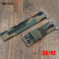 New Style Camouflage Canvas Nylon Leather Sport Wrist Apple Watch Strap For Iwatch Band 42mm 38MM