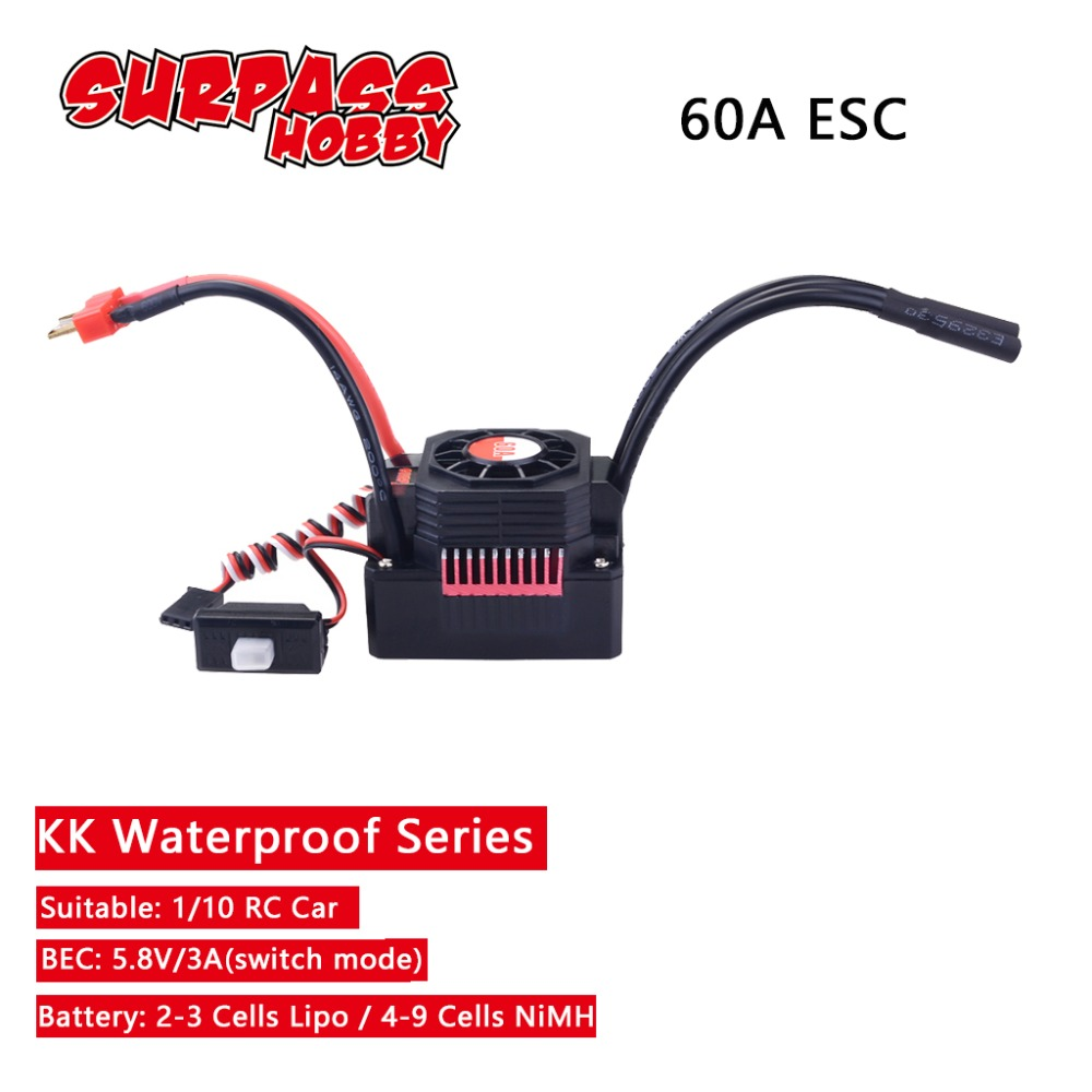 SURPASSHOBBY KK Waterproof 60A ESC Electric Speed Controller for RC 1/10 1/12 RC Car 3660 Brushless Motor-in Parts & Accessories from Toys & Hobbies