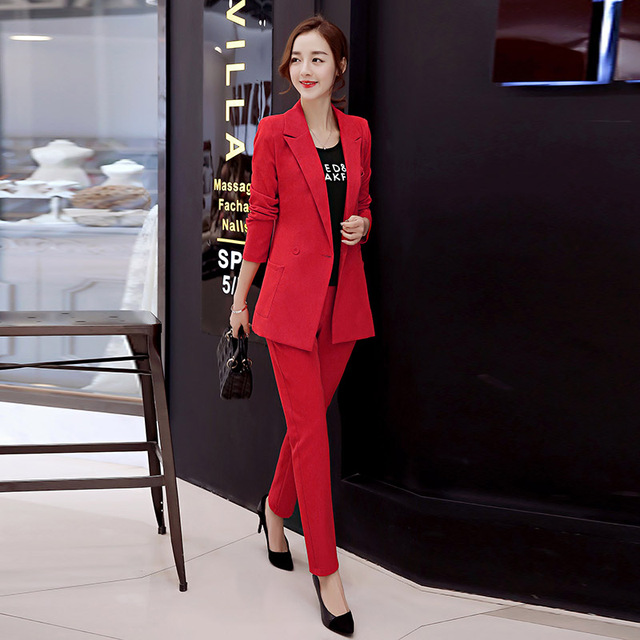 7c69ca215c66d US $40.39 |New 2017 spring solid color formal suits for women ol lady dress  slim fit full suits women office lady suit lady uniform TXF3-in Pant Suits  ...