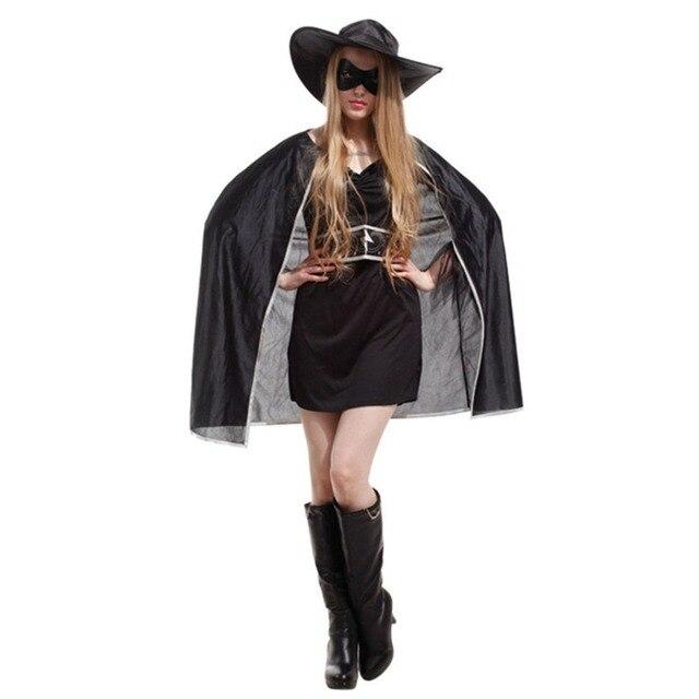 Zorro Cosplay Z Mark Black Costume Spanish Cape Masked Hero Adult Women  Halloween Costumes Superhero Costume 2a224eabf11a
