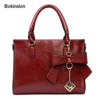 New 2017 Luxury Women S Handbags PU Leather Bowknot Bag Handbag For Women Retro Fashion Brand