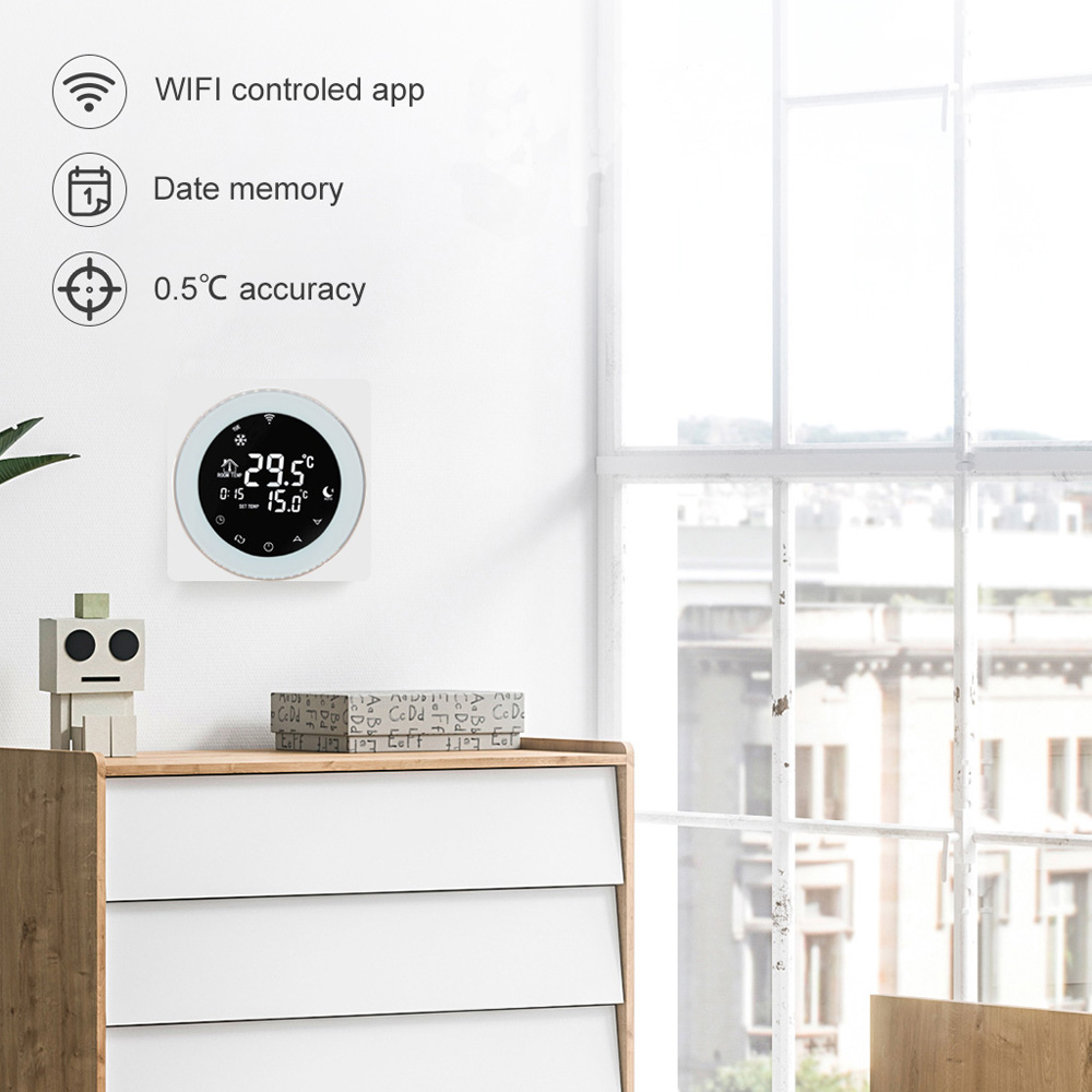 Wifi Thermostat Voice Programmable Water Heating Thermostat LCD Touch Screen Digital Display No Battery Alexa /Google Home White