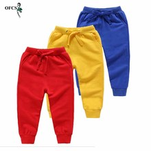 Spring Boys Elastic Loose Pants Colored Sports Pants For Girls Children Sweatpants Kids Trousers 2-12Y Baby Clothing Top-Quality cheap OFCS COTTON ModaL Unisex Sashes Full Length Fits true to size take your normal size Elastic Waist Solid Straight 20190613