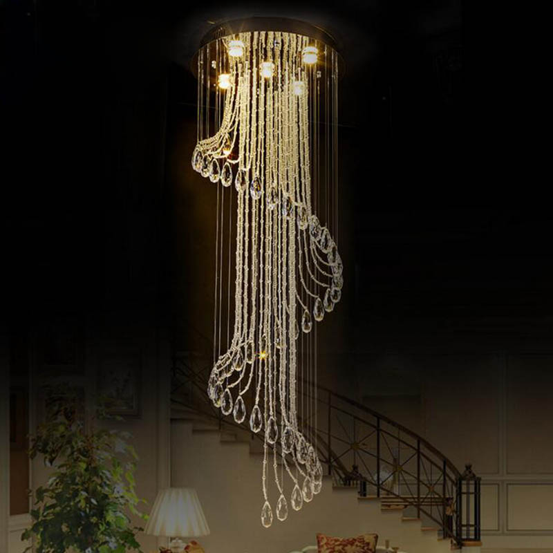 Duplex stair chandelier Hotel lobby project chandelier project Villa building middle floor living room hanging line crystal lamp Pendant Lights     - title=