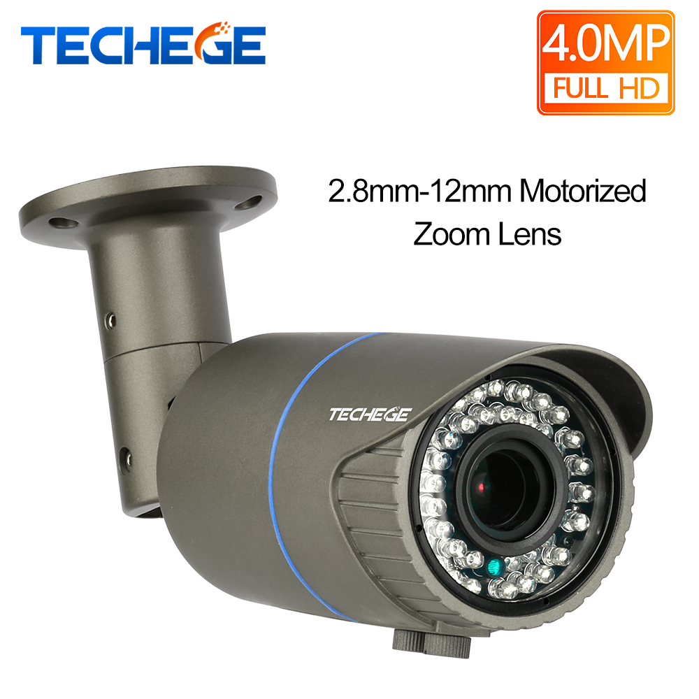 Techege HD 4.0MP H.265 2.8-12mm Motorized Zoom Lens 2592*1520 Ip Camera Outdoor Weatherproof Bullet Camera DC12V/ 48P POE