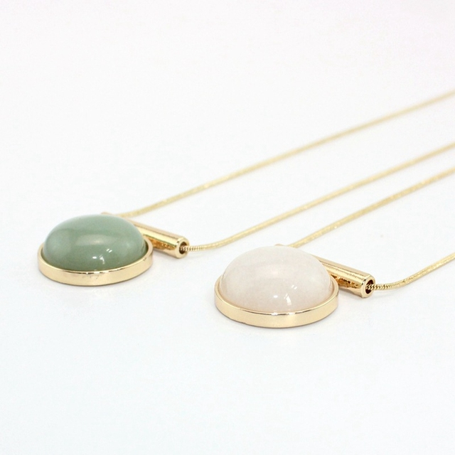 Chicvie зеленый камень ожерелье воротник длинный золотой цвет