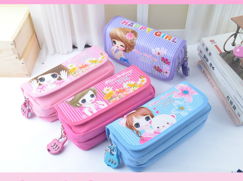 Arts Korea cute student pencil box flower girls large capacity pencil bag pouch pen case school kawaii pencil case With Lock New kawaii cartoon girls school pencil case with lock cute pu leather large capacity pencil bag gift bts pen box stationery supplies