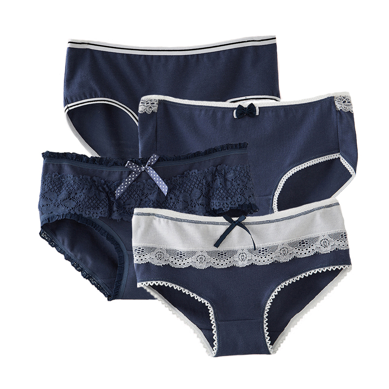 Women Solid Cotton Underwear Soft Seamless Briefs High