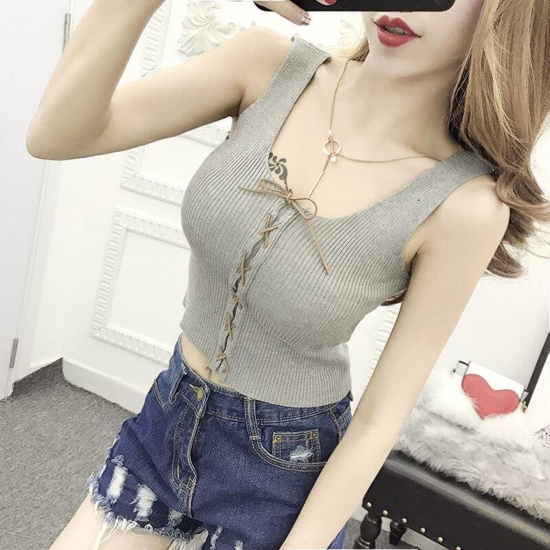 Sommer Frauen Mode Schlank Stricken Lace Up Tank Crop Tops Weibliche - Damenbekleidung - Foto 2