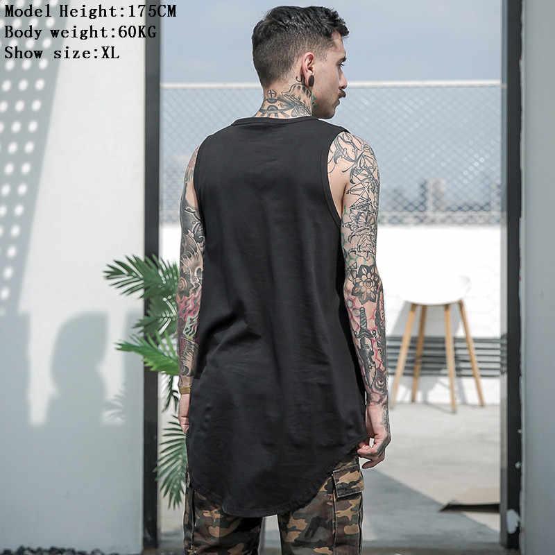 Aelfric Eden Mannen Zomer Hip Hop Verlengen Lange Tank Top heren Wit Vest Fashion Swag Mouwloos Katoenen Justin Bieber solid Tops
