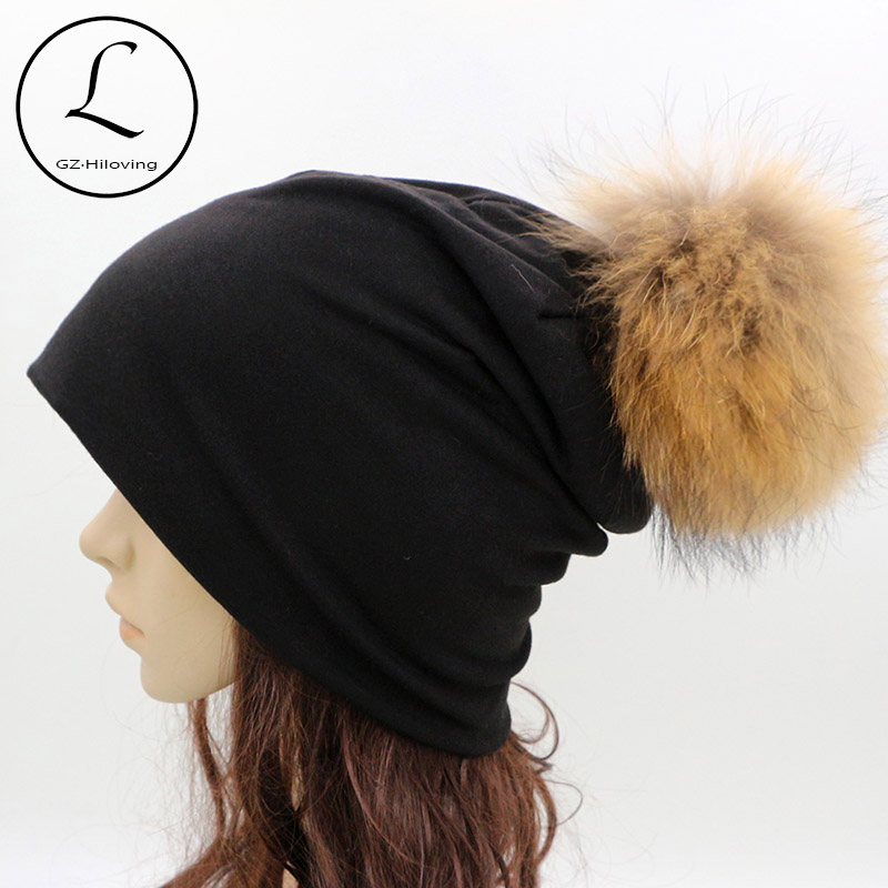 GZHILOVINGL 2016 Spring Winter Thin Ladies Womens Solid Color Skullies And Beanies Ins Hot Slouch Womens Beanie Fur Pom Pom Hats skullies