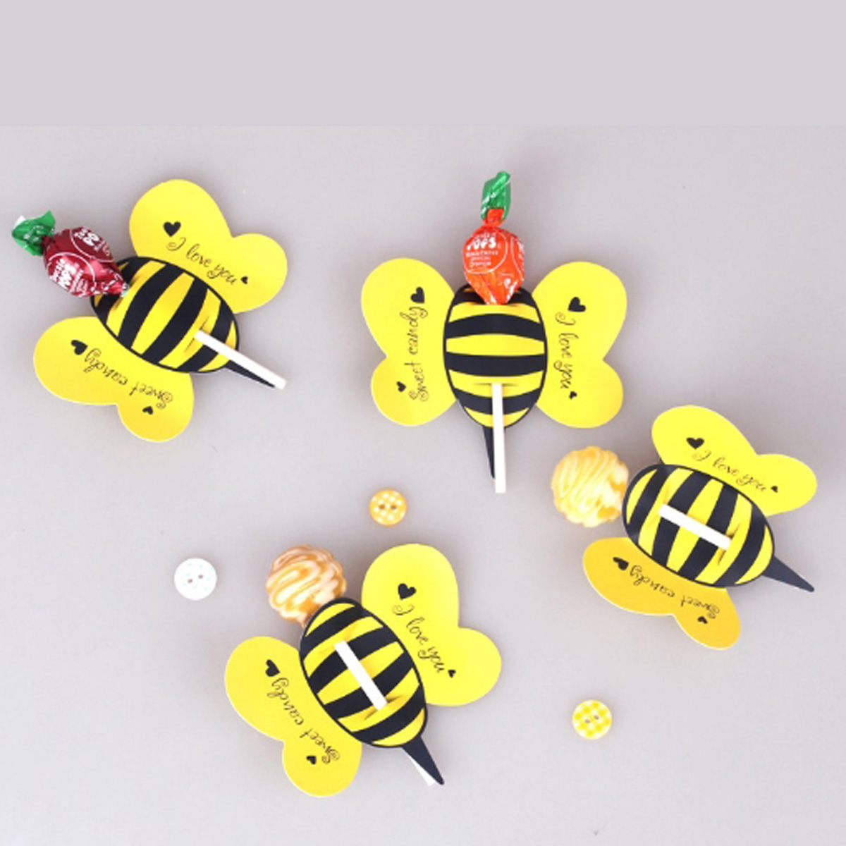 <font><b>50</b></font> pcs/set Animal Bee Practical Boutique Cute Lollipop Decoration Card Birthday Party & Wedding Decor & Candy Gift For Kids image
