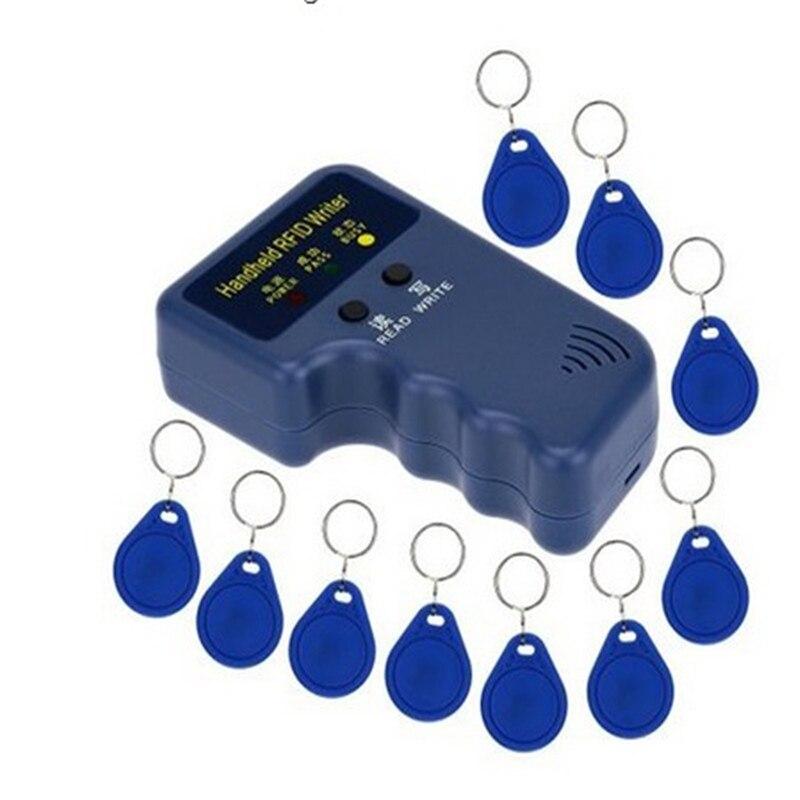 New 125KHz Handheld EM4100 RFID Copier Writer Duplicator Programmer Reader + 10Pcs EM4305 T5577 Writable ID Keyfobs Tags Card