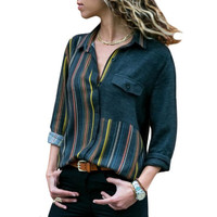 Fashion Europe America Women's New Top Stripe Contrast Color Lapel Long Sleeve XL Shirt z 4 LC251390