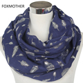 Free Shipping 2016 Europe Fashion Womens White Navy Blue Shiny Bronzing Silver Feather Infinity Scarves