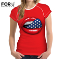 FORUDESIGNS New 2017 High Quality Short Sleeve T Shirt Women Red Lips T-Shirt Plus Size Female Retro Clothes Tops Lady Tee Shirt