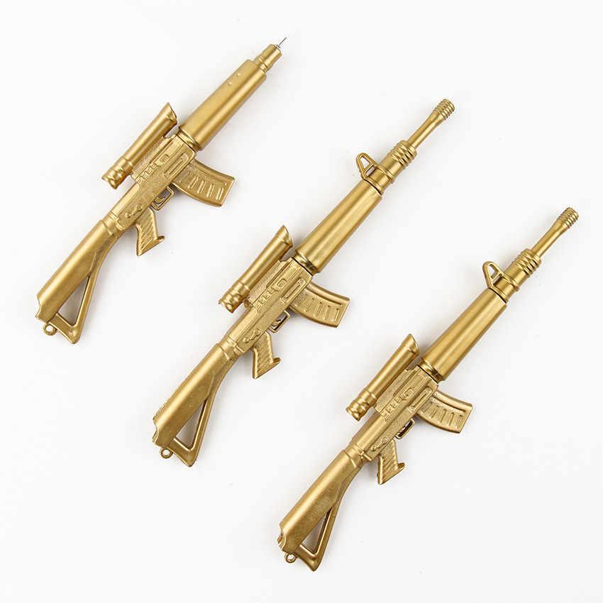 1 ADET Yaratıcı Kişilik Ofis Kırtasiye Altın Silah Şekli Jel Kalem 0.38 Jel Kalem Öğrenme Kırtasiye Hediye