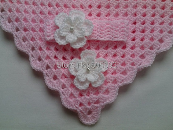 On Sale Crochet Baby Blanket And Baby Headband Set Christening