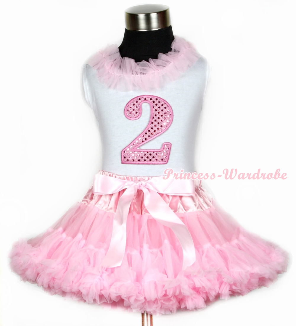 Halloween White Tank Top With Light Pink Chiffon Lacing & 2nd Sparkle Pink Birthday Number Print With Pink Pettiskirt MAMG668 light pink tank top pink leopard lacing 3rd sparkle light pink birthday no leopard waist light pink white pettiskirt mam320
