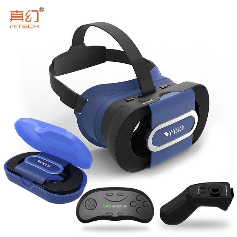 RITECH VRGO portable Foldable VR Glasses 3D Helmet Virtual Reality 3D Game For 4.0-6.0 Smartphone + <font><b>Bluetooth</b></font> Gamepad