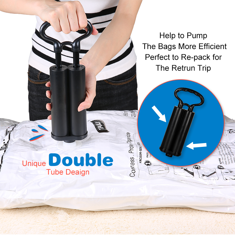 Super Value Set 7 PCS +1 Hand Pump Vacuum Bag for Clothes Wardrobe Storage Bag for Comforter/Blankets/ Clothes/ Plush Toys