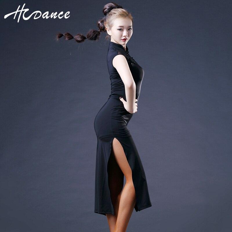 Nouvelle marque 2 couleurs femmes danse latine robe sans manches en soie Sexy Tango robe de bal Salsa robes latine offre spéciale Hcdance A372