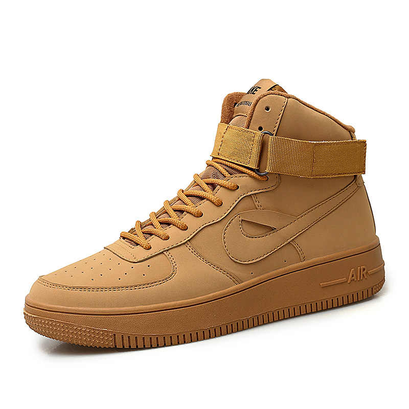 989c1e8fc3af10 Classic Air Force One AF1 Brand Men Sneakers Wheat Color High Top Mens  Breathable Skateborad Shoes