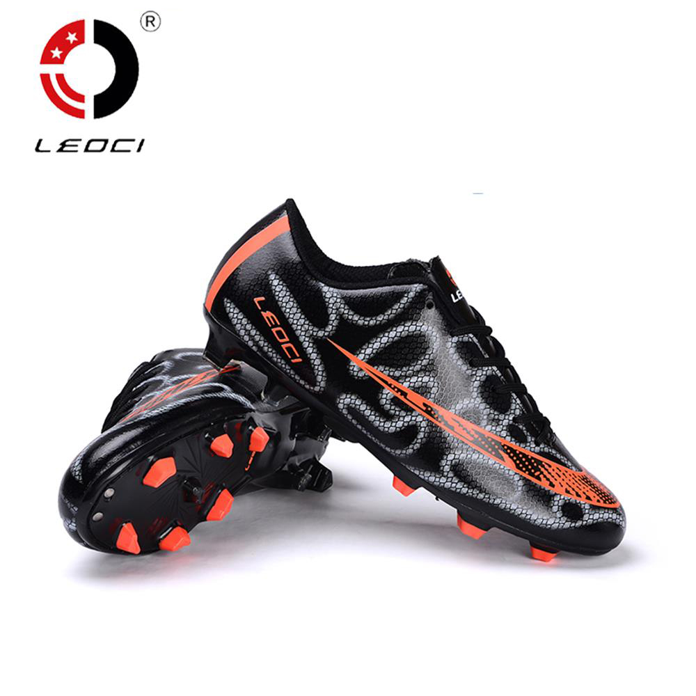 LEOCI TPR EVA PU Outdoor Lawn Football Shoes FG Soccer Boots Firm Ground Botas De Futbol For Adult and Kids Size 33-44 dr eagle original superfly football boots man football shoes with ankle soccer boots footbal shoes sock size 38 45 sneakers