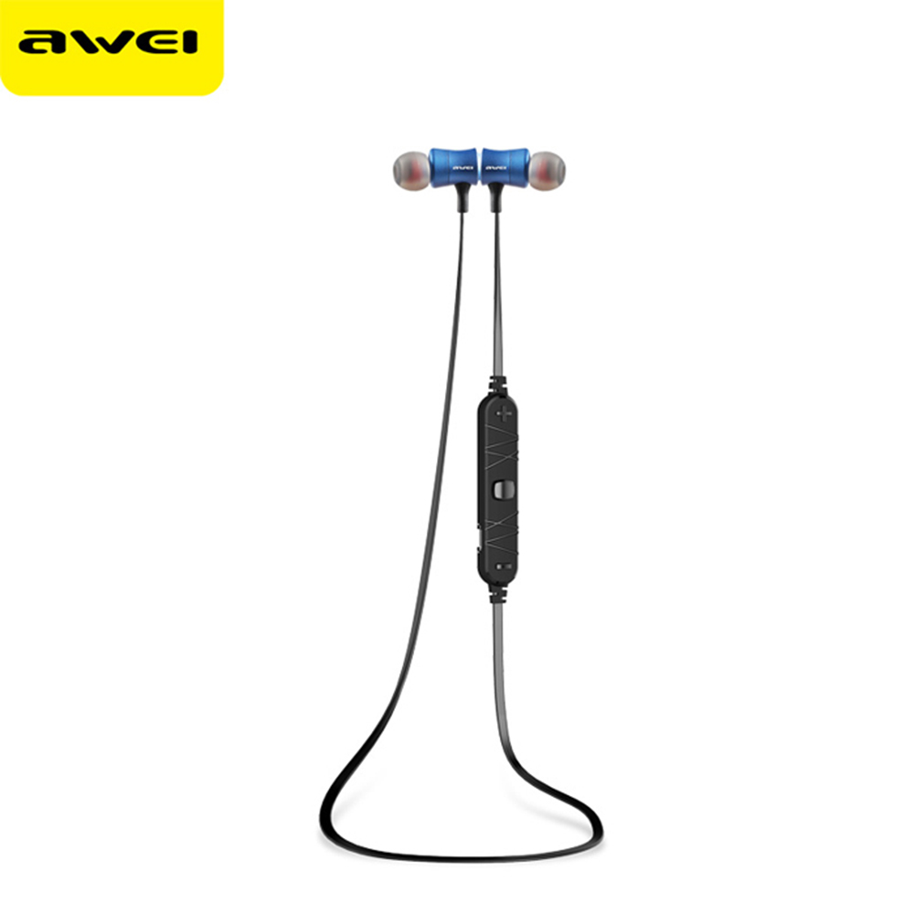 Awei A921BL Bluetooth Sport Earbuds Super Bass Stereo Sound Two-Channel Earphone W/ On-Cord Control Noise Cancelling Microphone