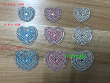 1 Piece Patches Pearl Bow Tie Hot Fix Rhinestone Motif Children Baby Suit Crystal iron Heart Patch Applique For Clothes