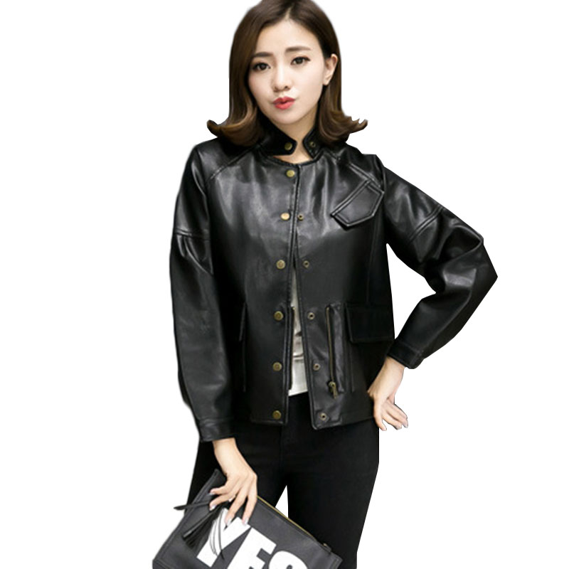 Casual PU   Leather   Jacket Women Classic Short Motorcycle Jackets Ladies Autumn Loose 2018 Autumn New Coats Outwear ZS497