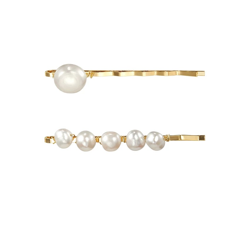 Купить с кэшбэком Fashion Pearl Hair Clip Barrette Hairpins Duckbill Clip Hair Claw Styling Tool Metal Hairpin Wedding Hair Clips for Women Girl