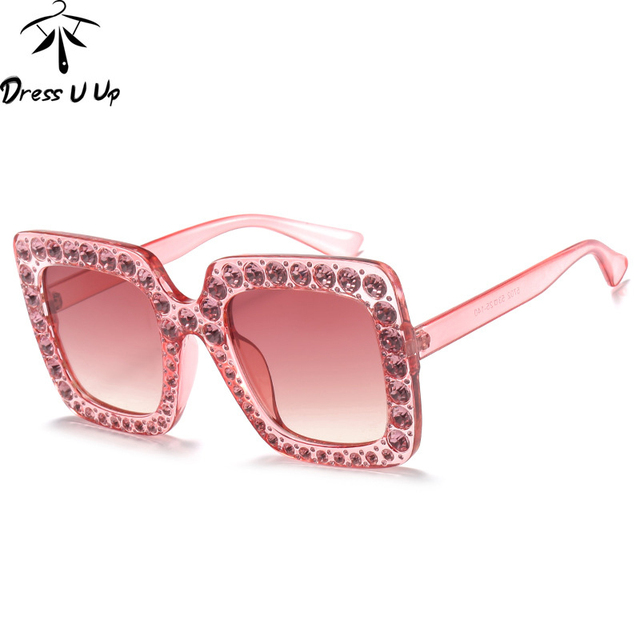 DRESSUUP Fashion Square Women Sunglasses Oversized Crystal Frame ...
